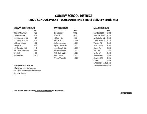 COVID 19 SCHOOL PACKET ONLY SCHEDULE